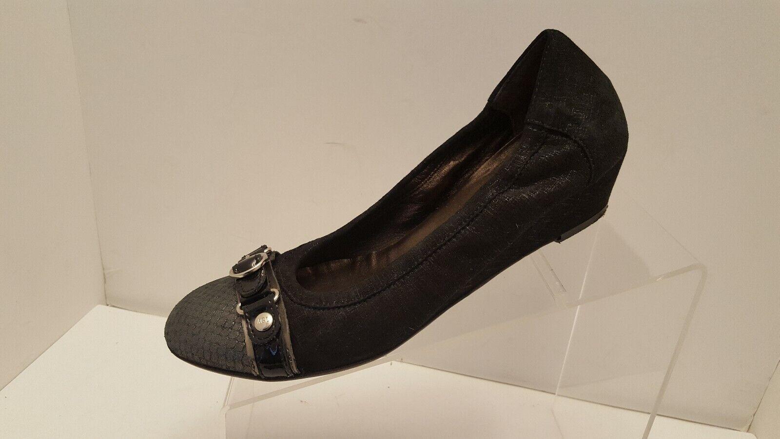 AGL Circle Wedge Pumps Suede Leather Heels Snake Print Black Gray Sz EU 38 US 8