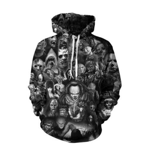 Damen Herren Kapuzenpullover Kapuzen Sweatshirt Hoodies 3D Schädel Pullover Tops