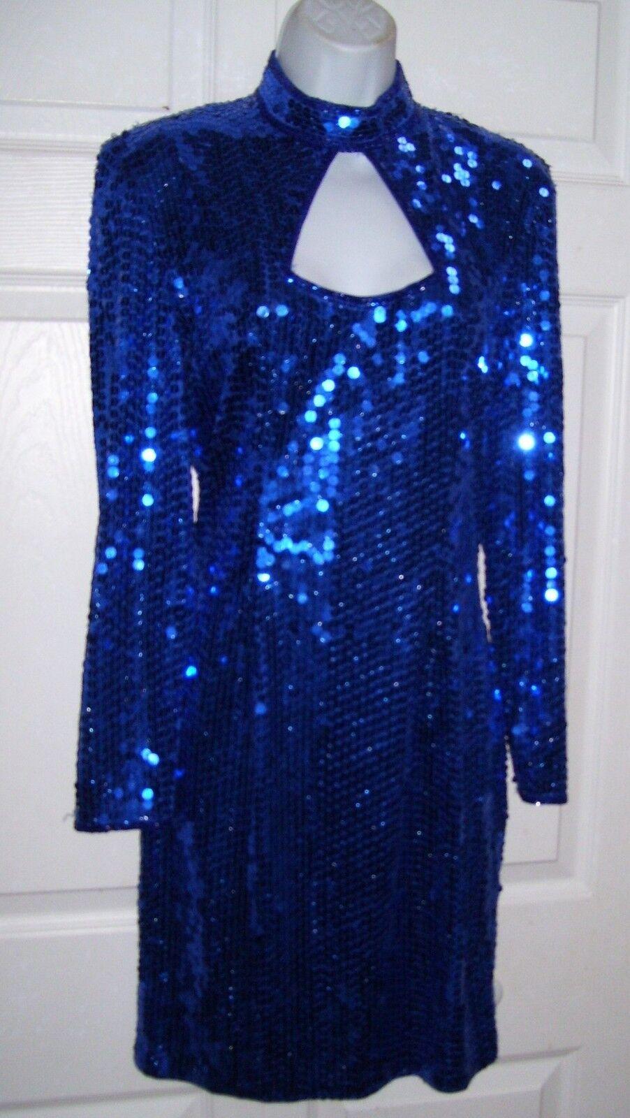 Woherren Größe 8 Medium Sequin Coverot Cocktail Dress Cobalt Retro Look Dressy