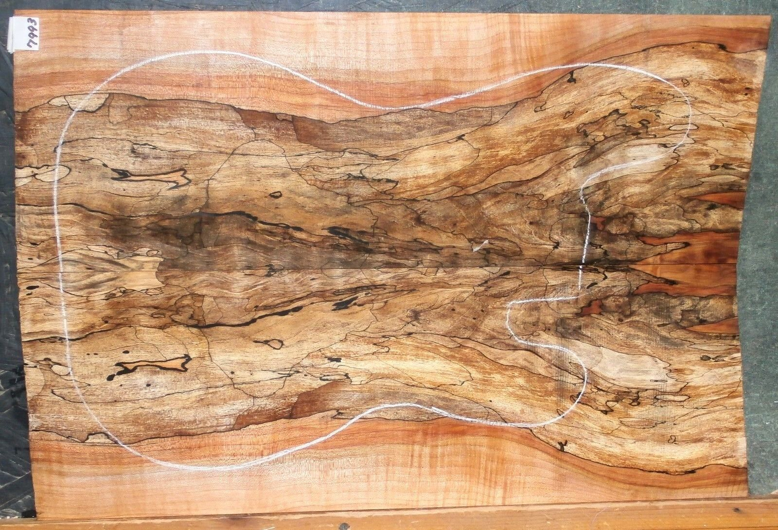 Spalted Curly Maple Wood 7993 Luthier Solid Body Guitar Top Set 241 2x 16 x 5 16