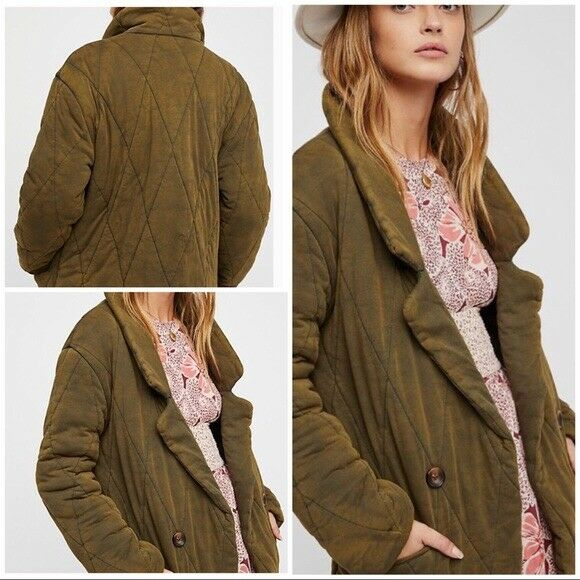 f43da480c People Tawny Puffer Pillow Quilted Olive Green Jacket Blazer XS for sale  online
