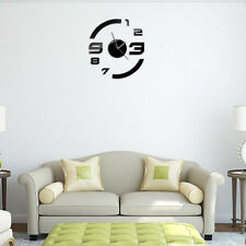 DIY Black Mirror 3D 6-Numbers Wall Clock Decal Home Decor Art Mural Stickers
