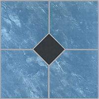 Blue Vinyl Floor Tile 40 Pcs Adhesive Bathroom Flooring - Actual 12'' X 12''