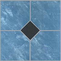 Blue Vinyl Floor Tile 40 Pcs Adhesive Bathroom Flooring - Actual 12'' X 12'' on sale