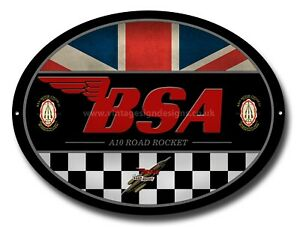 BSA A10 ROAD ROCKET OVAL METAL SIGN.OFFICIALLY LICENSED B.S.A PRODUCT. &™ BSA