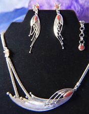 """Designer Spondylus Vintage Red Spiny Oyster Silver 0.950 17"""" Necklace & Earrings"""