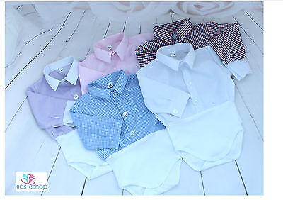 Aggressivo Baby Boy Vestito Smart Camicia Stile Corpetto Body Camicia Manica Lunga 0-18m- Colore Veloce
