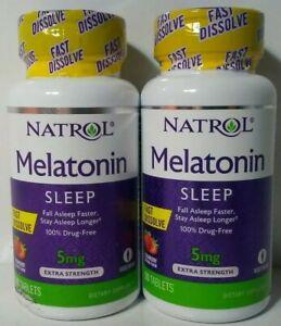 2 Natrol Melatonin 5mg Strawberry  Flavor Fast Dissolve 90 Tablets Ea Exp.08/22+