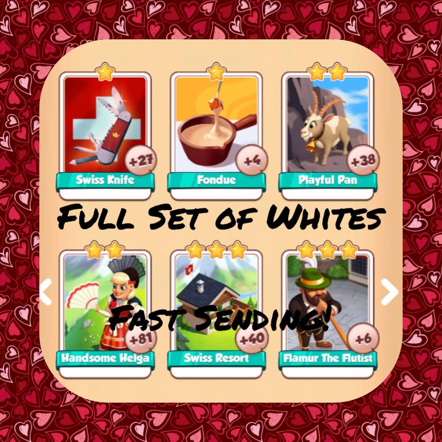 Coin Master Full Swiss Set (X6 Whites) Fondue, Playful Pan, Flamur..(Fast Send)