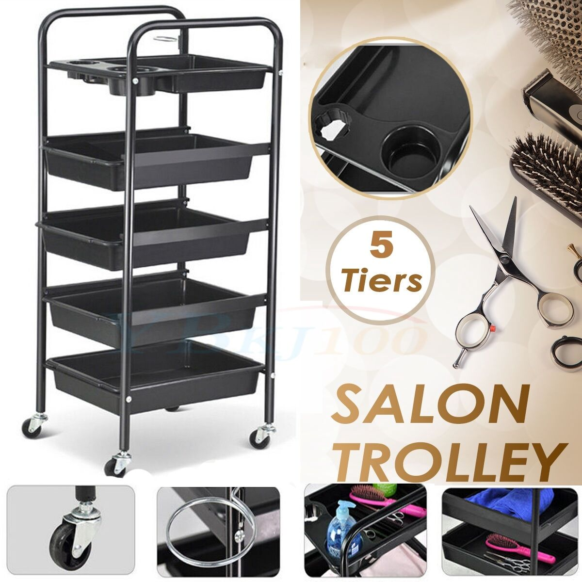 Salon Hairdresser Beauty Spa Coloring Hair Trolley Rollin...