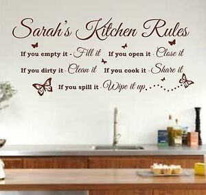 Image Is Loading Personalised Kitchen Rules Quote Wall Art Sticker Decal