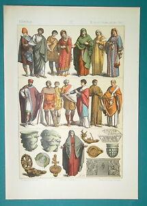 ROMAN-COSTUME-Men-Women-Girls-Peasants-Artifacts-1883-Color-Litho-Print