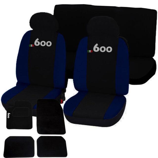 COPRISEDILI + TAPPETINI AUTO CON STRAPPO LOGO FIAT 600 NERO - BLU SCURO