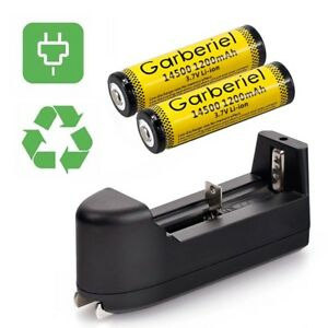 2PCS-GARBERIEL-1200mAh-14500-Li-ion-3-7V-Rechargeable-Battery-Smart-Charger-US