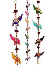 Elephant WallHanging Mobile Wind Chime Bell Lucky Charm Indian Handcrafted 100cm