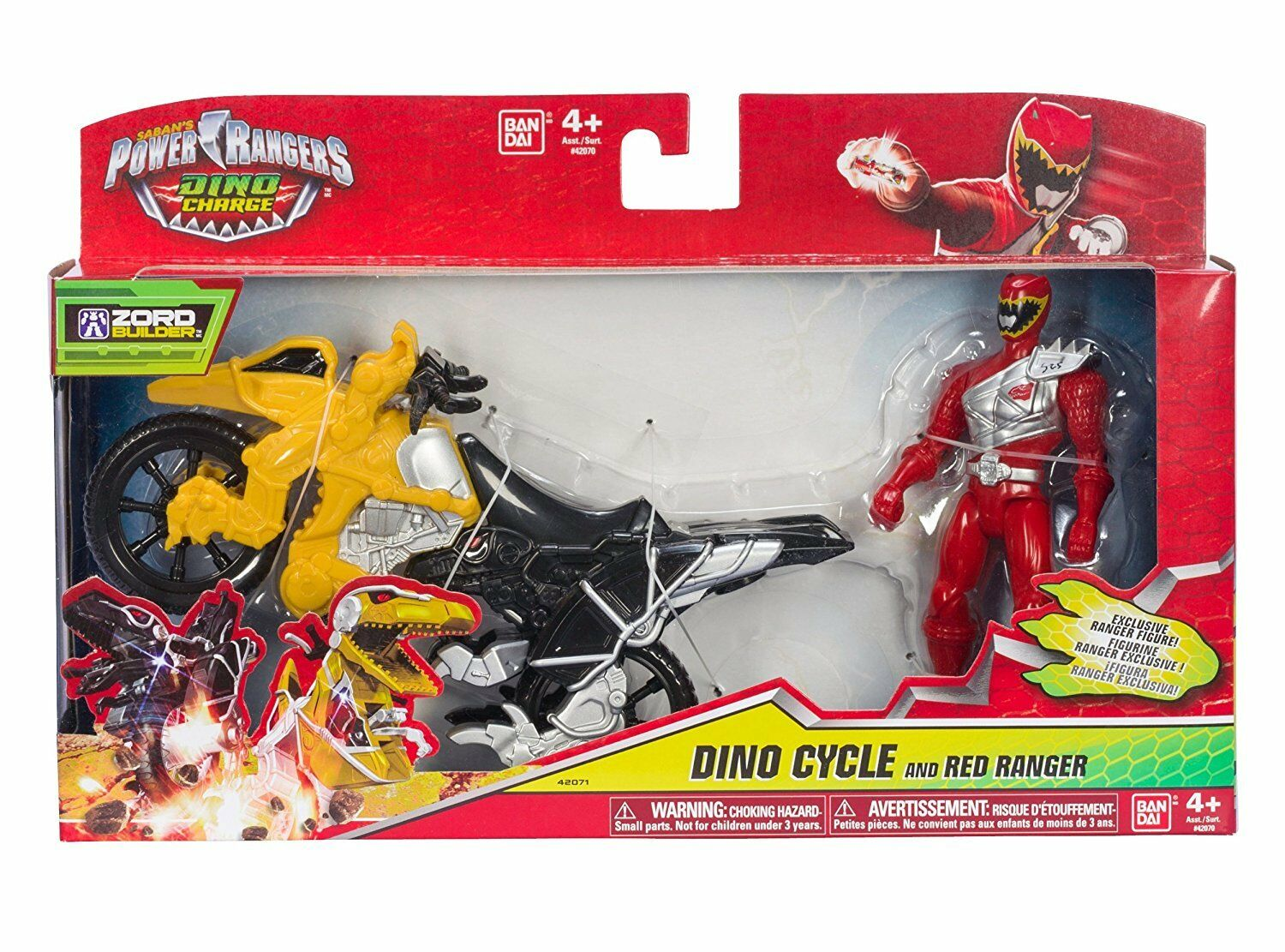 Power Rangers Dino Charge - Dino Cycle with 5  rosso Ranger Action Figure