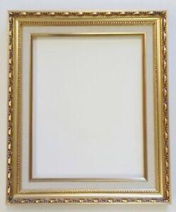 Picture-Frame-11x14-034-Ornate-Gold-Color-White-Linen-Liner-Wood-Gesso-139G