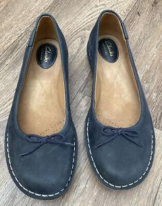 Clarks-Artisan-Blue-Nubick-Dolly-Shoes-6-5-Comfort-VGC