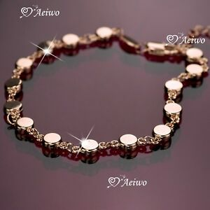 18K-Rose-GOLD-GP-BRACELET-LINK-bead-CHAIN-BLING-BLING-AEIWO-FASHION-JEWELRY