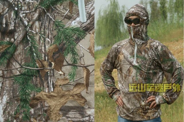 Summer breathable men fishing bionic camouflage long-sleeved T-shirt