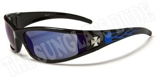 Sunglasses New Sport Shades Wraps Chopper Biker Men Women Black Blue CH99G
