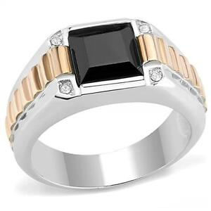 Synthetic-Jet-Black-Onyx-Tutone-Silver-Rose-Gold-RX-Band-Mens-Ring