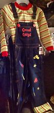 CHUCKY COSTUME  5t...   shirt, coveralls, orange hairspray, necklace, handcuffs