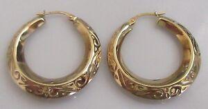 Hollow-9ct-Gold-Round-Patterned-Hoop-Earrings-for-pierced-ears-snap-shut
