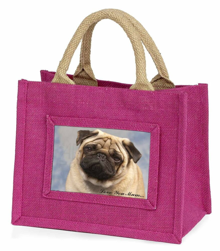 Mode 2019 Pug Dog 'love You Mum' Little Girls Small Pink Shopping Bag Christm, Ad-p1lymbmp Soyez Amical Lors De L'Utilisation