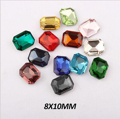 100pcs  8X10MM Rectangular octagonal Pointback Rhinestone 16 colors Optional