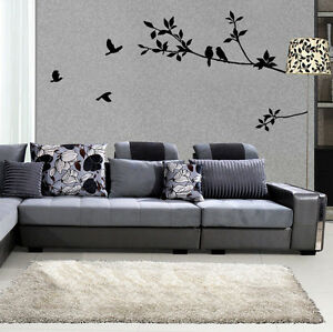 Black-PVC-Mural-Bird-Tree-Removable-Vinyl-Wall-Decal-Stickers-Home-Decor-Art-x1