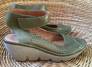 Olive Green Leather Wedge Sandals UK