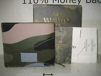 $495 Valentino Men Camouflage Logo Leather Credit Cards Id Bifold Wallet Box