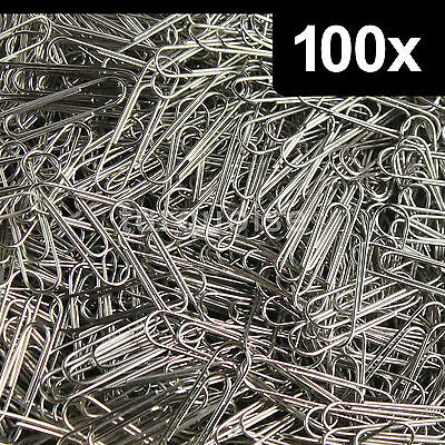 100 x Quality Plain Paper Clips 33mm Polished Steel Metal