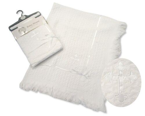 "Baby Christening Baptism Blanket Shawl Wrap Silver Trim 30/"" 36/"" 120 cm  Cross"