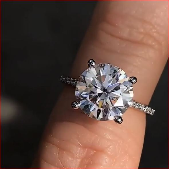 2.50Ct Round Cut Moissanite Solitaire Engagement Ring Solid 14K White gold