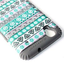 ZTE Boost Max N9520 - HARD&SOFT RUBBER HYBRID SKIN CASE GREEN GRAY AZTEC TRIBAL