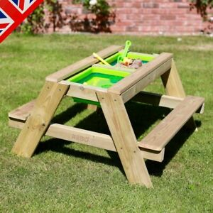 Rebo Wooden Sandpit With Lid Sand & Water Picnic Table Play Bench – Double