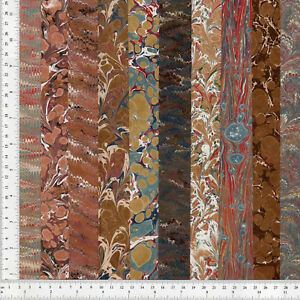 Hand-Marbled-Paper-Set-of-10-9x48cm-3-5x19in-Bookbinding-Restoration