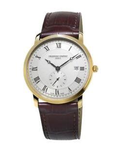 Frederique-Constant-Men-039-s-Quartz-Silver-Dial-Gold-Tone-39mm-Watch-FC-245MS5S5