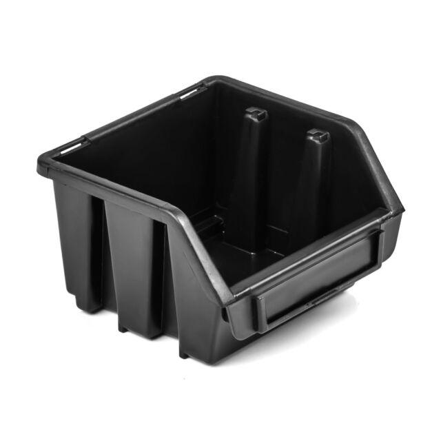 Lagerboxen Stapelboxen Sichtlagerkasten Box Ergobox 1 Schwarz 115x115x75