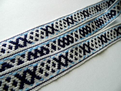 BLUE AND WHITE REVERSABLE CROSS woven ribbon 20MM R051