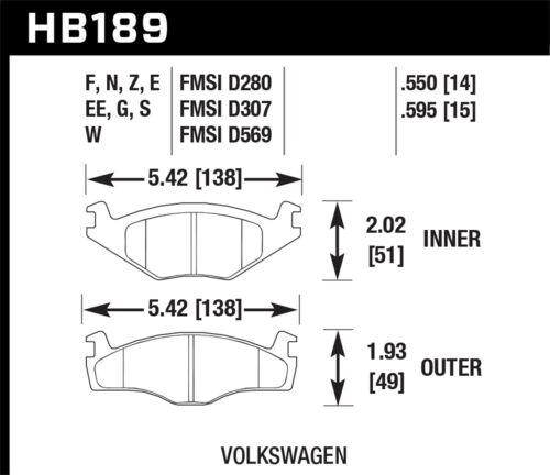 EXCALIBUR SM 7183-D280 BRAKE PADS VOLKSWAGEN