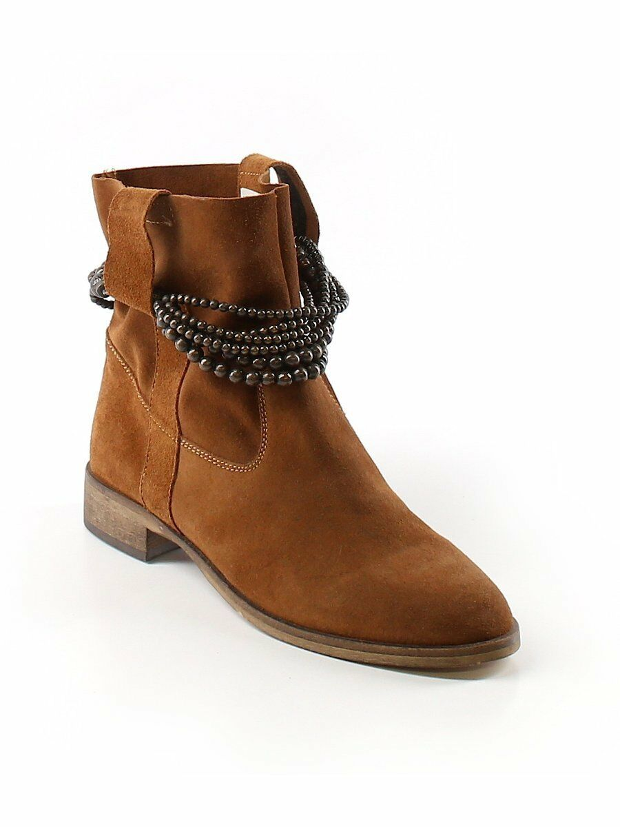 SUNDANCE CATALOG  NEW Brown Soft Suede Wrap Beads Leather Slouch Boots  Eu 39