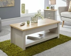 Details About Lift Up Coffee Table In Cream Or Grey Oak Effect Lifting Top Smart E Saver