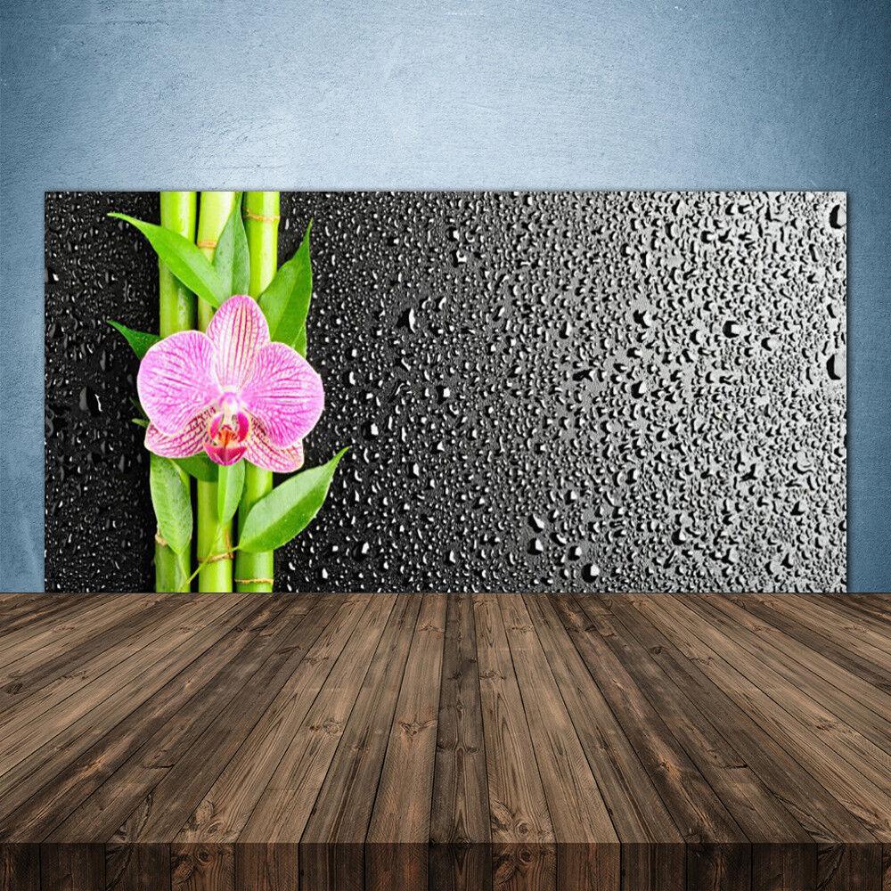Crédence de cuisine en verre Panneau 140x70 Floral Bambou Tige Fleur
