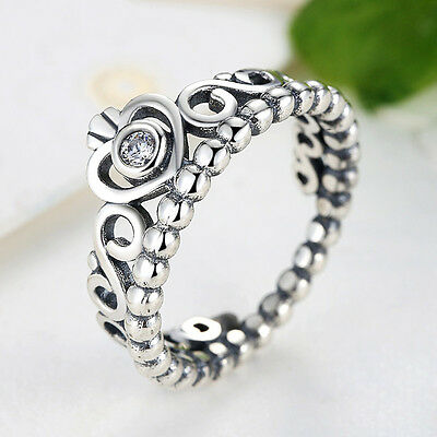 My princess Crown Authentic 925 Sterling Silver Clear CZ Wedding Ring for Women