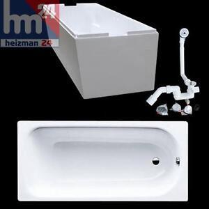 EURO Plus Stahl  Badewanne 160x70 weiß Wannenträger Siphon Farbe weiss