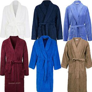 Mens 100% Cotton Terry Towelling Shawl Collar Bath robe Dressing ... d1e5d8012
