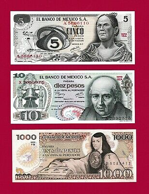 RARE Set of 4 1980s Mexican Notes 10 FREE BONUS and 1000 Pesos 100 UNC 20